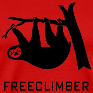 freeclimber climbing freeclimbing boulder rock mountain mountains hiking rocks sloth climber T-shirts - Premium-T-shirt herr