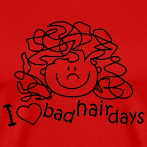 I love bad hair days T-shirts - Herre premium T-shirt