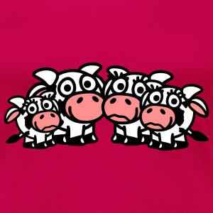 cow_family_with_two_girls_3c T-shirts - Dame premium T-shirt