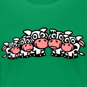 cow_family_with_girl_and_two_boys_3c T-shirts - Dame premium T-shirt