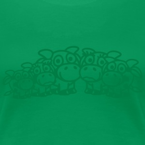 cow_family_with_girl_and_two_boys_1c T-Shirts - Frauen Premium T-Shirt