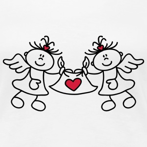 Two little angels and a heart T-Shirts - Women's Premium T-Shirt