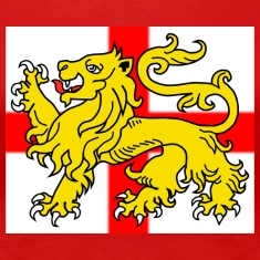 English Lion Passant on St George's Cross Flag