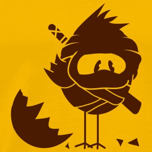 A newly hatched chick in Ninja outfit and a sword on his back T-Shirts - Men's Premium T-Shirt
