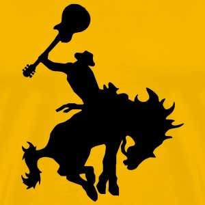 Guitar Hero rodeo cowboy on horseback, horse T-Shirts - Men's Premium T-Shirt