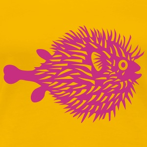 puffer fish t-shirt blowfish pregnant belly beer belly fishing fisherman mother mom mummy - Women's Premium T-Shirt