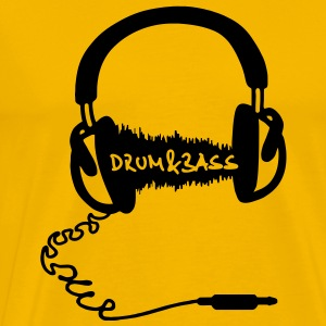 Headphones Audio Wave Motif: Drum & Bass Electronic Music  D N' B Drum n' Bass Drum&Bass T-Shirts - Men's Premium T-Shirt