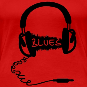 Headphones Audio Wave motif: blues music, audiophile  T-Shirts - Women's Premium T-Shirt