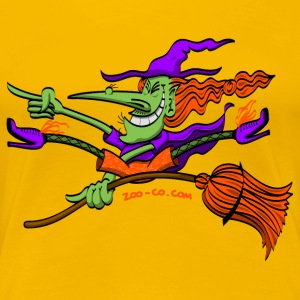 Crazy Witch Riding her Broomstick T-Shirts - Women's Premium T-Shirt