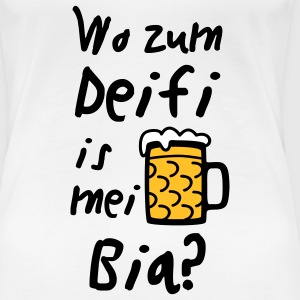 Wo zum Deifi is mei Bia? T-Shirts - Frauen Premium T-Shirt