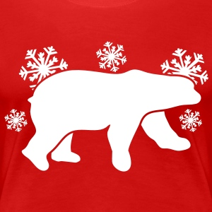 polar bear with winter season snowflakes T-Shirts - Women's Premium T-Shirt