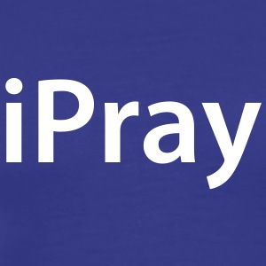 iPray - Classic Mens White Text - Men's Premium T-Shirt