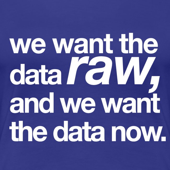 "women's/ ""we want the data raw, and we want the data now"""