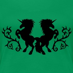 2 unicorns rearing tattoo design like with trendy thorns T-Shirts