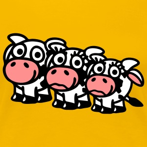 cow_family_with_girl_3c T-shirts - Dame premium T-shirt
