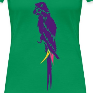Parrot pirate with eye patch, pirate hat and hook  T-Shirts - Women's Premium T-Shirt