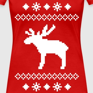 moose caribou reindeer deer christmas norwegian knitting pattern rudolph rudolf winter snowflake snow crystal frost snow flower T-Shirts - Women's Premium T-Shirt