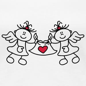 Two little angels and a heart T-shirts - Dame premium T-shirt