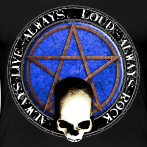 rock_and_roll_and_skull_and_pentagram_q T-Shirts - Women's Premium T-Shirt