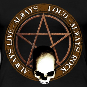rock_and_roll_and_skull_and_pentagram_a T-Shirts - Women's Premium T-Shirt