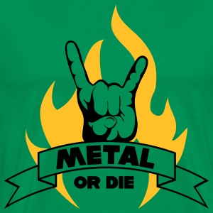 METAL OR DIE!!! Flame - Premium T-skjorte for menn