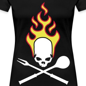 fire_skull_cook_112011_i_3c T-shirts - Dame premium T-shirt