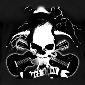 skull_and_horns_and_guitars_b_sw T-Shirts - Frauen Premium T-Shirt