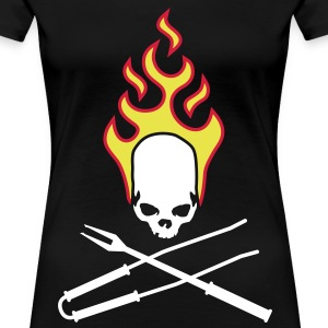 fire_skull_cook_112011_f_3c T-shirts - Dame premium T-shirt