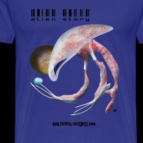 Motif ~ Alien medusa homme bleu ciel