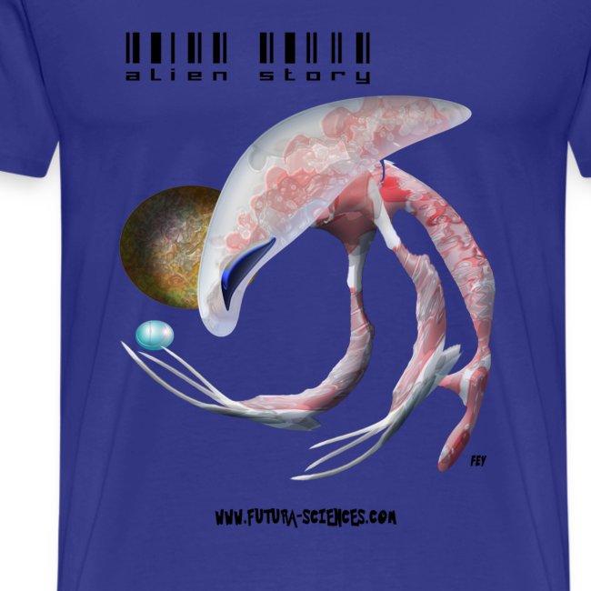 Alien medusa homme bleu ciel