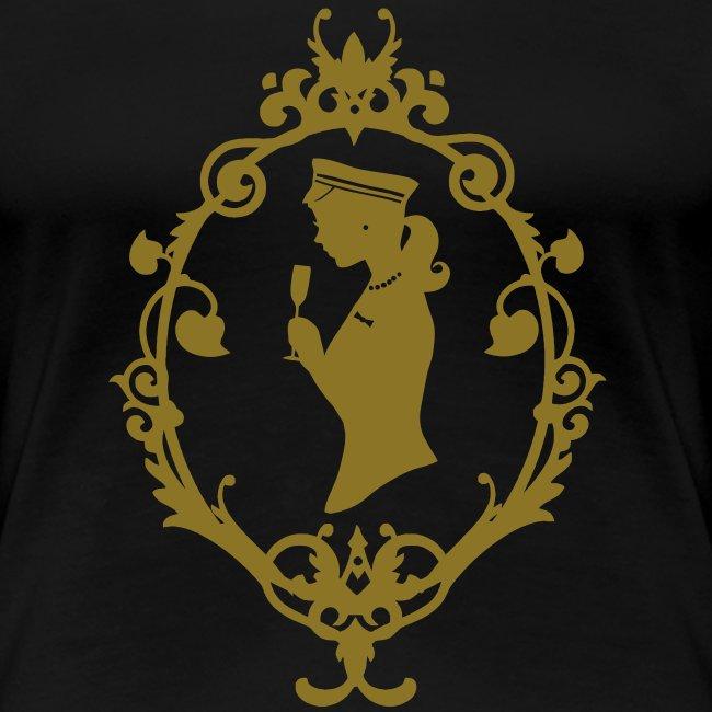"Girlie-Shirt ""Schleife"" Schwarz-Gold"