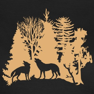 wolf pack wolves howling wild animal moon forest tree trees wildernes T-Shirts - Women's T-Shirt