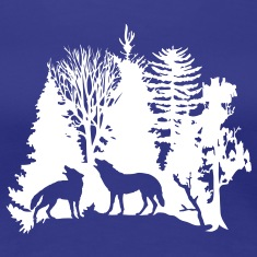 wolf pack wolves howling wild animal moon forest tree trees wildernes T-Shirts