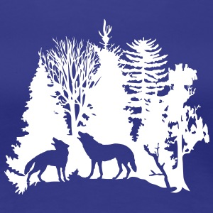 wolf pack wolves howling wild animal moon forest tree trees wildernes T-Shirts - Women's Premium T-Shirt