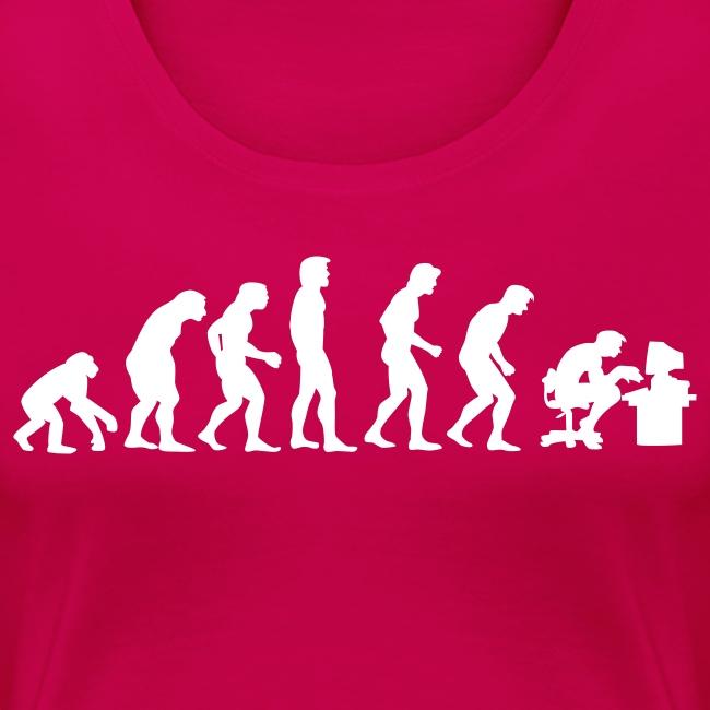 Evolutie grote maten dames t-shirt met opdruk