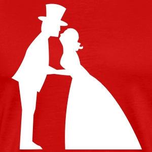 a wedding kiss man and woman formal dress top hat and Bridal gown kissing T-Shirts - Men's Premium T-Shirt