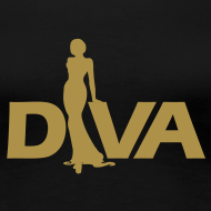 Design ~ Diva Figure - Gold Glitter - Black