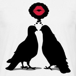 Kiss thinking  Doves - Two Valentine Birds_3c T-Shirts - Männer T-Shirt