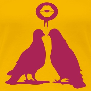 Kiss saying  Doves - Two Valentine Birds_1c T-Shirts - Frauen Premium T-Shirt
