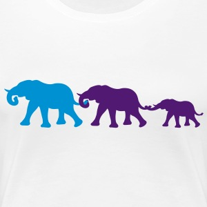 elephant_family_with_girl T-shirts - Dame premium T-shirt