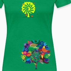Kelly green Overbirded Tree T-Shirts