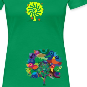 Kelly green Overbirded Tree T-Shirts - Women's Premium T-Shirt