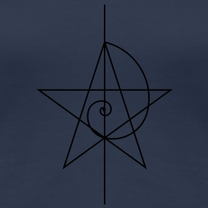 pentagram, five star, pentagram, spiral, alchemy, magic, witches, magic, character fibunacci, compasses, gothic, pagan T-Shirts - Women's Premium T-Shirt
