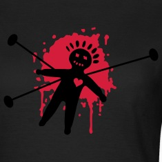 voodoo, doll, gothic, goth, magic, black magic, blood, ritual, splatter, heart, pain, black T-Shirts