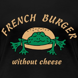 Froschburger French Burger Fastfood Frog ohne Käse without cheese Frankreich France T-Shirts - Frauen Premium T-Shirt