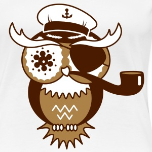 An owl with captain's hat, eye patch and pipe tobacco T-Shirts - Women's Premium T-Shirt