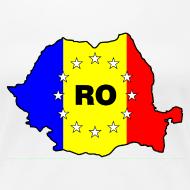 Motiv ~ Damen- Shirt mit Rumänien- Karte RO-EU
