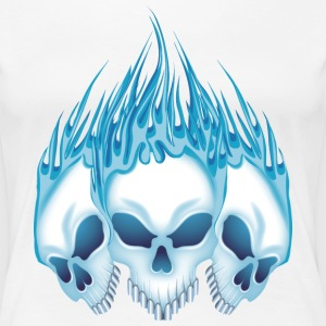 Flaming Blue Skulls T-Shirts - Women's Premium T-Shirt