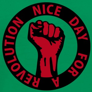 2 colors - nice day for a revolution - against capitalism working class war revolution T-shirts - Mannen Premium T-shirt
