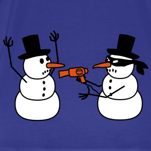 hair_dryer_snowman_robbing T-Shirts - Men's Premium T-Shirt